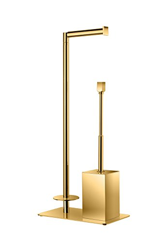 Standing Toilet Brush Bowl and Storage Spare Toilet Paper Holder Set, Brass (Polished Gold) by W-Luxury (Image #1)