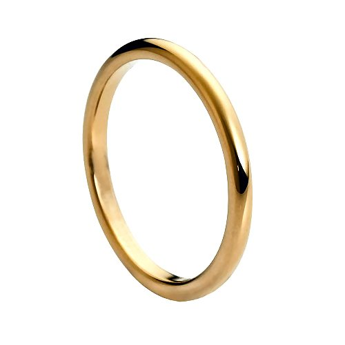 Tungsten Carbide High Polish Rose Gold Plated Thin Band 2mm Wedding Band Ring, 7 Size