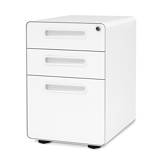 DEVAISE 3-Drawer Mobile File Cabinet with Anti-tilt Mechanism,Legal/Letter Size (White) (Cabinet File Desks)