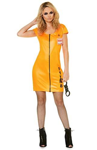 Sexy Jail Convict Costume Set - Halloween Womens Orange Prisoner Dress, -