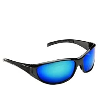 e240a5eaaa Sunglasses - Men s Wrap Around Black Sports Sunglasses With Blue  Polycarbonate Shatterproof Reflective Lenses - Men s