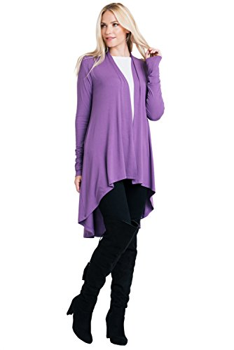 ReneeC. Women's Natural Bamboo Super Soft Open Front Long Cardigan - Made in USA (2X-Large, Purple) ()