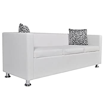 Festnight Modern Faux Leather 3-Seater Sofa for Living Room, White