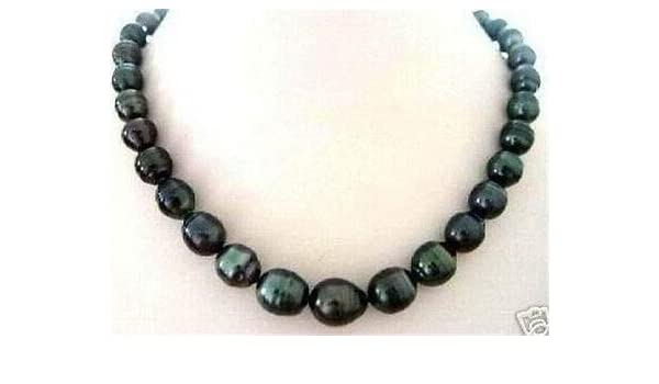 """8-9MM TAHITIAN RICE BLACK CULTURED PEARL NECKLACE 18/"""""""