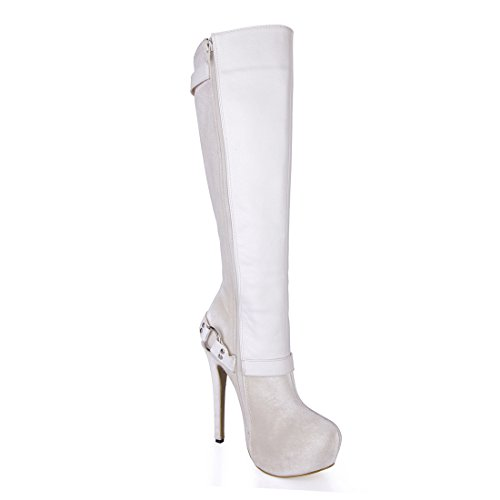 CHMILE CHAU Sexy Women Fashion Knee-High Boots Buckle Round Toe Platform Stiletto High Heeled Long Boots Ivory hHYmFEWH0P