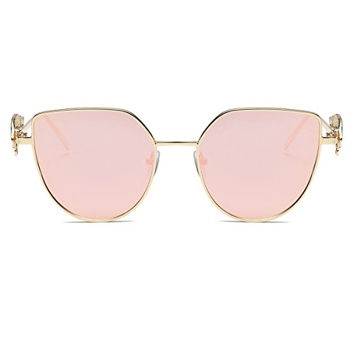 Amomoma Cat Eye Vintage Fashion Sunglasses with Wings Leg & Metal Chain AS1703 Gold Frame/Pink Mirrored - Shipping Sunglasses Free