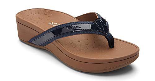 Vionic Women's Pacific High Tide Toepost Sandals - Ladies Mid Heel Flip Flops with Concealed Orthotic Support - Navy 10M (Best Sandals For Overpronation And Flat Feet)