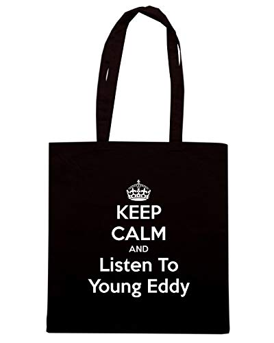 Speed Shirt Borsa Shopper Nera TKC1149 KEEP CALM AND LISTEN TO YOUNG EDDY