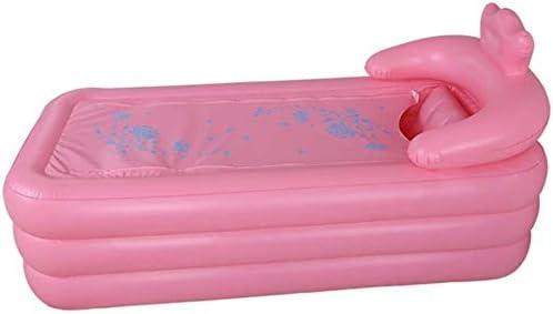 大人インフレータブルバスタブホームバスタブインフレータブル横たわるスチームサウナボックス肥厚折りたたみプール (Color : Pink)
