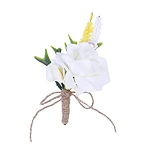 BESTOYARD European Style Wedding Corsages Groom Boutonniere Artificial Calla Lily Flowers (White) 26