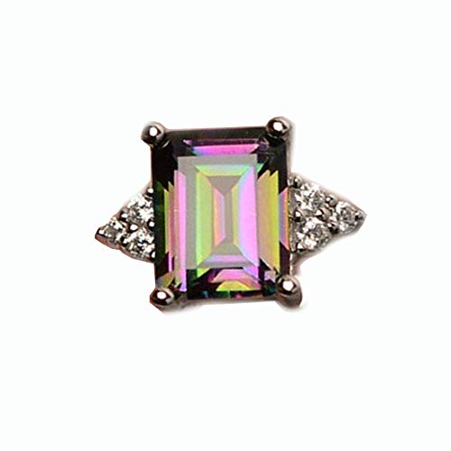 〓Londony〓 Fashion Jewelry Crystal Square Rings Wedding Rings for Women Rainbow Engagement Diamond Rings Jewelry ()