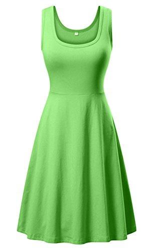 Green Cotton Dress - DB MOON Women's Summer Beach A Line Dress Casual Flared Sleeveless Tank Dresses (Large, Grass)