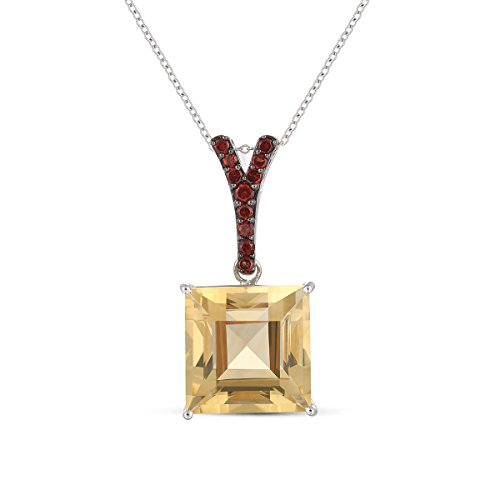 Ferhe New York 925 Sterling Silver Pendant with Citrine & Mozambique (Mozambique Garnet Pendant)