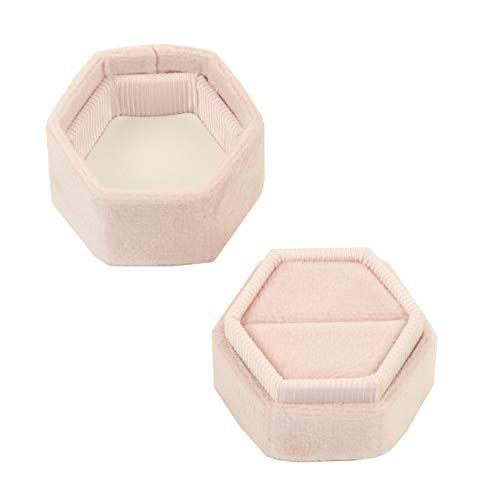 Koyal Wholesale Velvet Ring Box, Blush Pink, Hexagon Vintage Wedding Ceremony Ring Box with Detachable Lid, 2 Piece Engagement Ring Box Holder, Modern Proposal Idea, Slim Ring Box Display