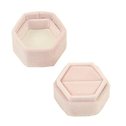 Koyal Wholesale Velvet Ring Box, Blush Pink, Hexagon Vintage Wedding Ceremony Ring Box with Detachable Lid, 2 Piece Engagement Ring Box Holder, Modern Proposal Idea, Slim Ring Box Display]()