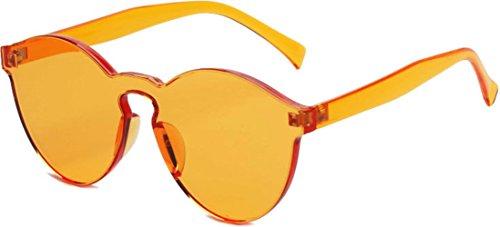 J&L Glasses Transparent Rimless Ultra-Bold Candy Color sunglasses (Orange, - Sunglasses Orange Lens