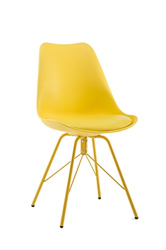 Cheap Design Furniture Eames Style Upholstered Dining Chair Set of 4, All Yellow Modern Kitchen Dining Room Side Chair with Cushion Seat Metal Leg (All Yellow)