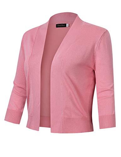 GloryStar Women's 3/4 Sleeve Open Front Cropped Cardigan Sweater Lightweight Knit Short Shrugs Dusty Pink L