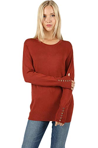 Sweaters for Women Round Neck Long Sleeve Rose Gold Buttons Detail Quality Sweater - Fired Brick (2X) ()