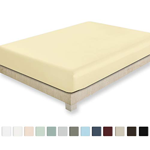 California Design Den 400 Thread Count 100% Cotton 1 Fitted Sheet Only, Vanilla Yellow Queen Fitted Sheet, Long - Staple Combed Pure Natural Cotton Sheet, Soft & Silky Sateen Weave