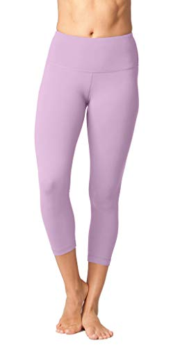 Yogalicious High Waist Ultra Soft Lightweight Capris - High Rise Yoga Pants - Shadow Petal - Large