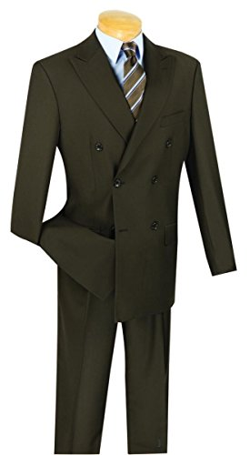 - Vinci Wool Feel 6 Button Double Breasted Solid Color Suit DC900-1-Brown-52R