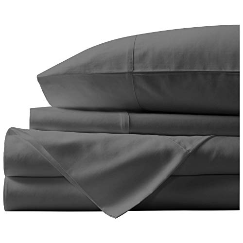- The Impress Linens Luxurious and Premium Quality 4-Pc Bedsheet Set 100% Egyptian Cotton 800 TC with 21'' Deep Pocket, Ultra Soft Silky and Durable Sheet (Calking-ElephantGrey)