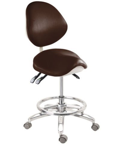 Super Dental Mobile Chair Saddle Doctors Stool PU Leather with Circle