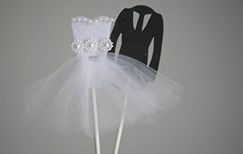 Price comparison product image Mulion White Dress and Black Suit Bridal Shower Decorations Bride and Groom Wedding Cake Toppers for Anniversary Party,  Wedding Favors for Guests