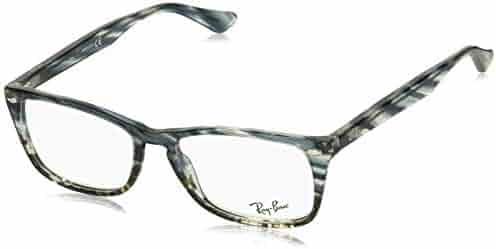 dc6ac0a52a Ray-Ban 0rx5228m No Polarization Square Prescription Eyewear Frame, Blue  Gradient Grey Striped,