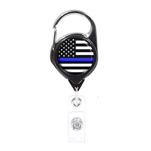 Thin Blue Line-American Flag ID Badge Holder, Black Retractable with Metal Carabiner and Back Clip | Great for Holding Keys, Access and Security Cards | Perfect for Teachers, Nurses, Professionals