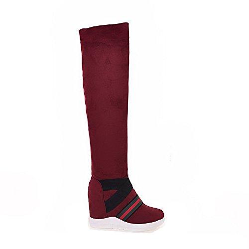 Allhqfashion Couleur Assortie Pour Femme Talons Hauts Bout Fermé Fermé Imitation Boots À Enfiler En Daim Rouge
