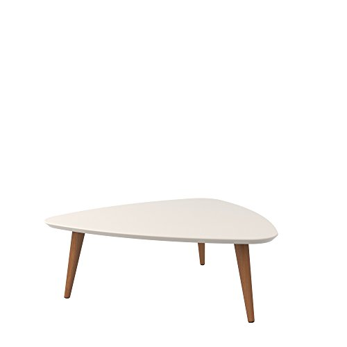 Mid Century Wooden Lacquered Triangular Top End Coffee Table with Solid Wood Splayed Legs - Includes Modhaus Living Pen (Off White and Maple Cream)