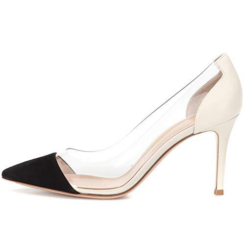 YODEKS Women's Cap Toe Pumps 85mm High Heel Transparent Shoes Stiletto Dress Pumps Black White US9 Black White Stiletto Heel Shoe
