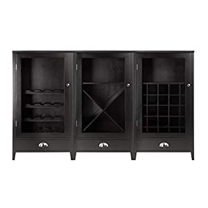 Wood & Style Premium Décor 3-Pc Wine Cabinet Set with Tempered Glass Doors