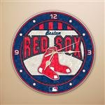 (MLB Boston Red Sox 12-Inch Art Glass Clock)