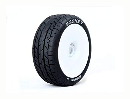 (Wheels & Tires, Louise B-Rocket 1/8 Scale Buggy Tires Soft Compound/White Rim/Mounted)