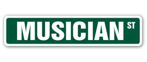 "Musician Street Sign Instrument Music Band Guitar Drums | Indoor/Outdoor |  18"" Wide from SignMission"