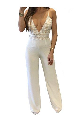 (Vilover Women's Sexy V Neck Spaghetti Strap Crisscross Back Wide Leg Long Pants Jumpsuits (White V Neck,)