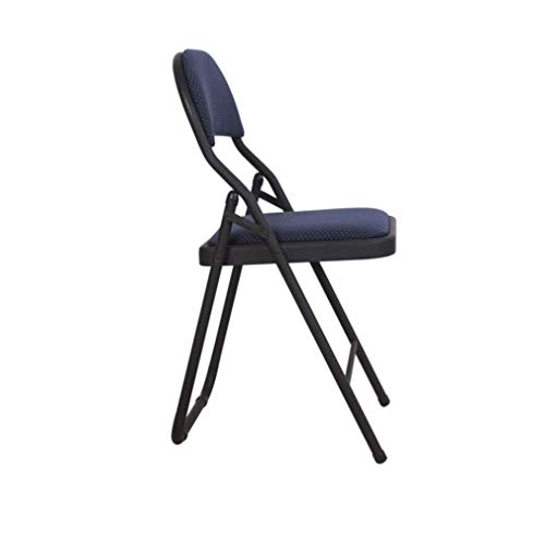 GLJJQMY Computer Conference Folding Cloth Thick Steel Frame Student Chair Back Conference Chair Training Chair Stacking Chair (Color : Blue) ()