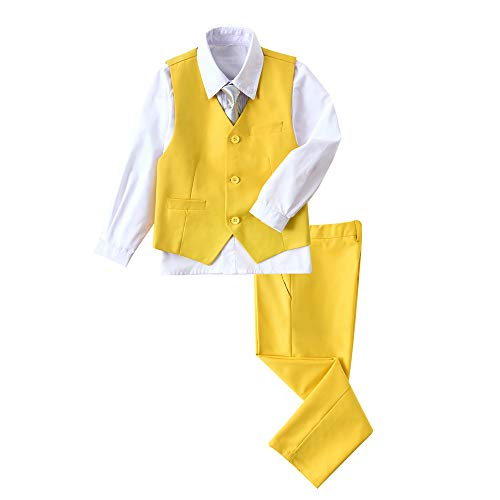YuanLu Boys Suit 4 Pieces Dress Vest Pants White Shirt and Tie Set for Kids Outfits Yellow Size 2T