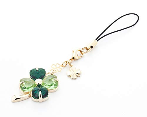 (Kisaragi Cell Phone Strap 030 Four-Leaf Clover - (Emerald + Peridot) Gold Court)