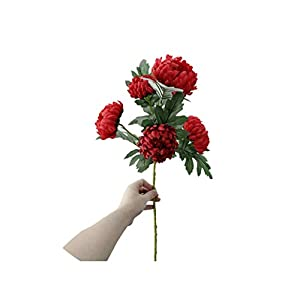 crystal004 5 Heads Large Flowers Silk Chrysanthemum Artificial Flowers Marigolds Autumn Wedding Home Decorative Fake Plants Branches A8736,Red 16