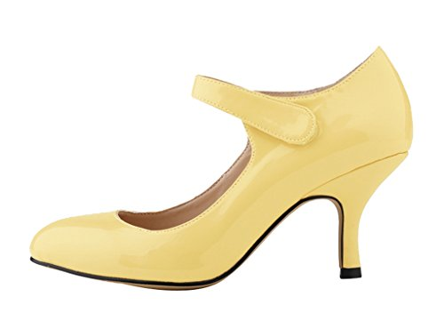 Pumps Heel Shoes Classic Stiletto patent Party pu For 02 yellow High Toe Pointy Sexy Dress Evening Women's fX0YqnSpwp