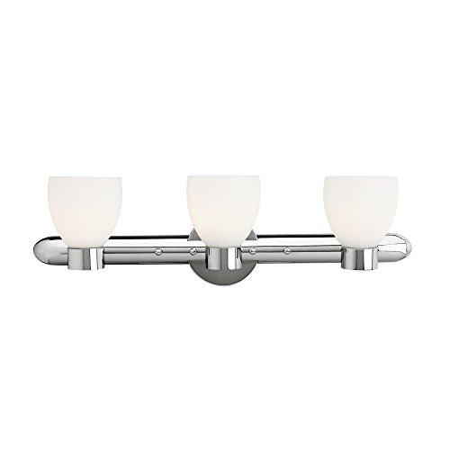 Frisco - 3-Light Vanity - Chrome Finish - Opal Glass Shade