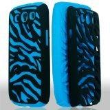 - Generic Dual Flex Hard Hybrid Gel Case Cover for Samsung Galaxy S3 i9300 - Retail Packaging - Black/Blue Zebra