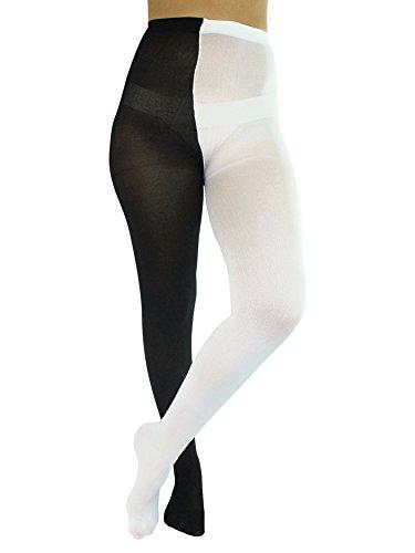 (Luxury Divas Black & White Two-Tone Jester Style Opaque Tights)
