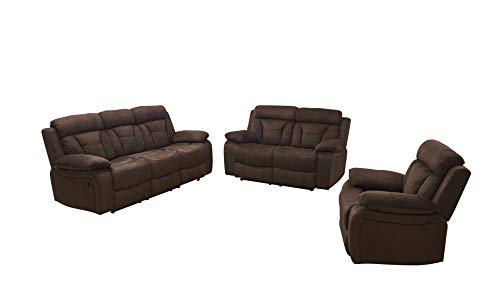 - Betsy Furniture 3-PC Microfiber Fabric Recliner Living Room Set in Brown, Sofa + Loveseat + Chair, Pillow Top Backrest and Armrests 8005-321