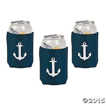Fun Express Foam Nautical Anchor Beverage Can Cooler Cover Holders