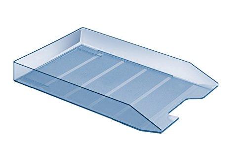 Acrimet Stackable Front Load Letter Size Tray Plastic Desktop File Organizer (Clear Blue Color) (1 Unit)
